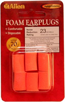 Allen Foam Earplugs 6 Pack