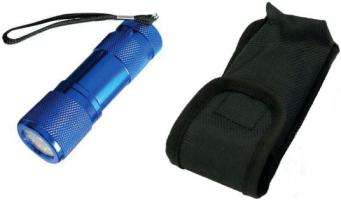 SE 9-LED Blue Metal Flash Light w/Case