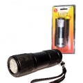SE 9-LED Black Metal Flash Light w/Case